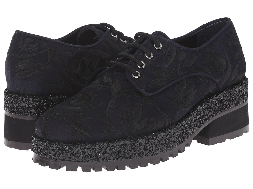 Markus Lupfer - ML158 (Dark Navy Suede Black Embroidery) Women's Shoes
