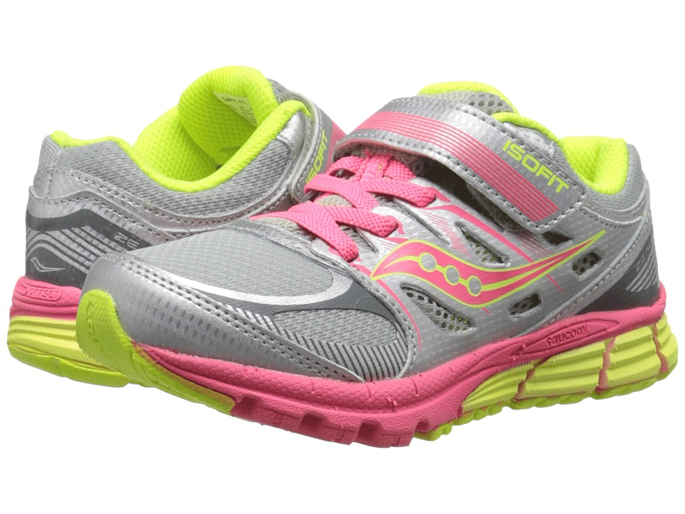 Saucony Kids Zealot A/C (Little Kid) (Silver/Coral/Citron) Girls Shoes