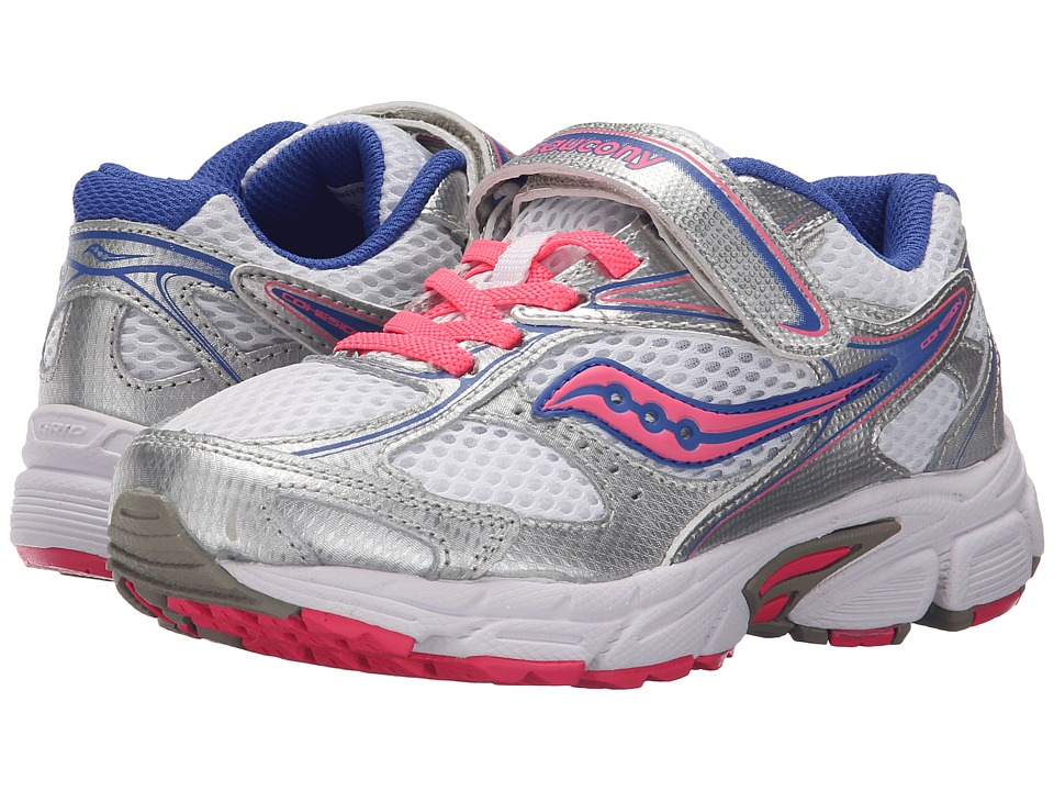 Saucony Kids Cohesion 8 A/C (Little Kid) (White/Silver/Coral) Girls Shoes