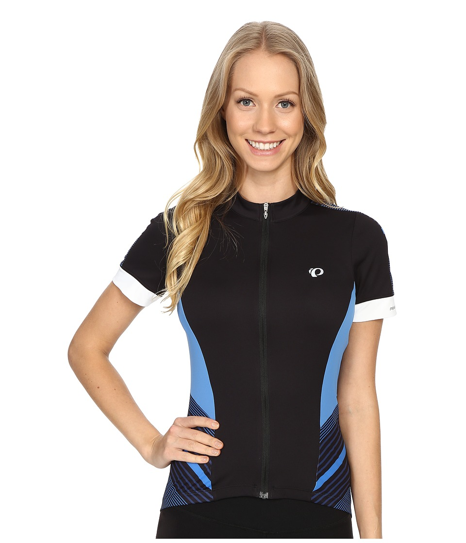 Pearl Izumi - Elite Pursuit Short Sleeve Jersey (Black/Sky Blue Stripe) Women's Clothing