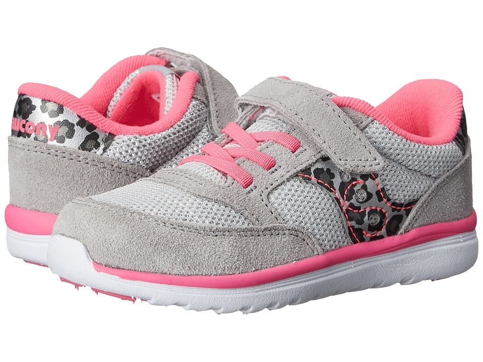 Saucony Kids Jazz Lite (Toddler/Little Kid) (Silver/Leopard/Pink) Girls Shoes