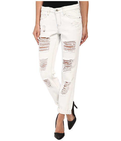 dollhouse - Light Wash Fully Shredded Boyfriend Capri Jeans in Faith (Faith) Women