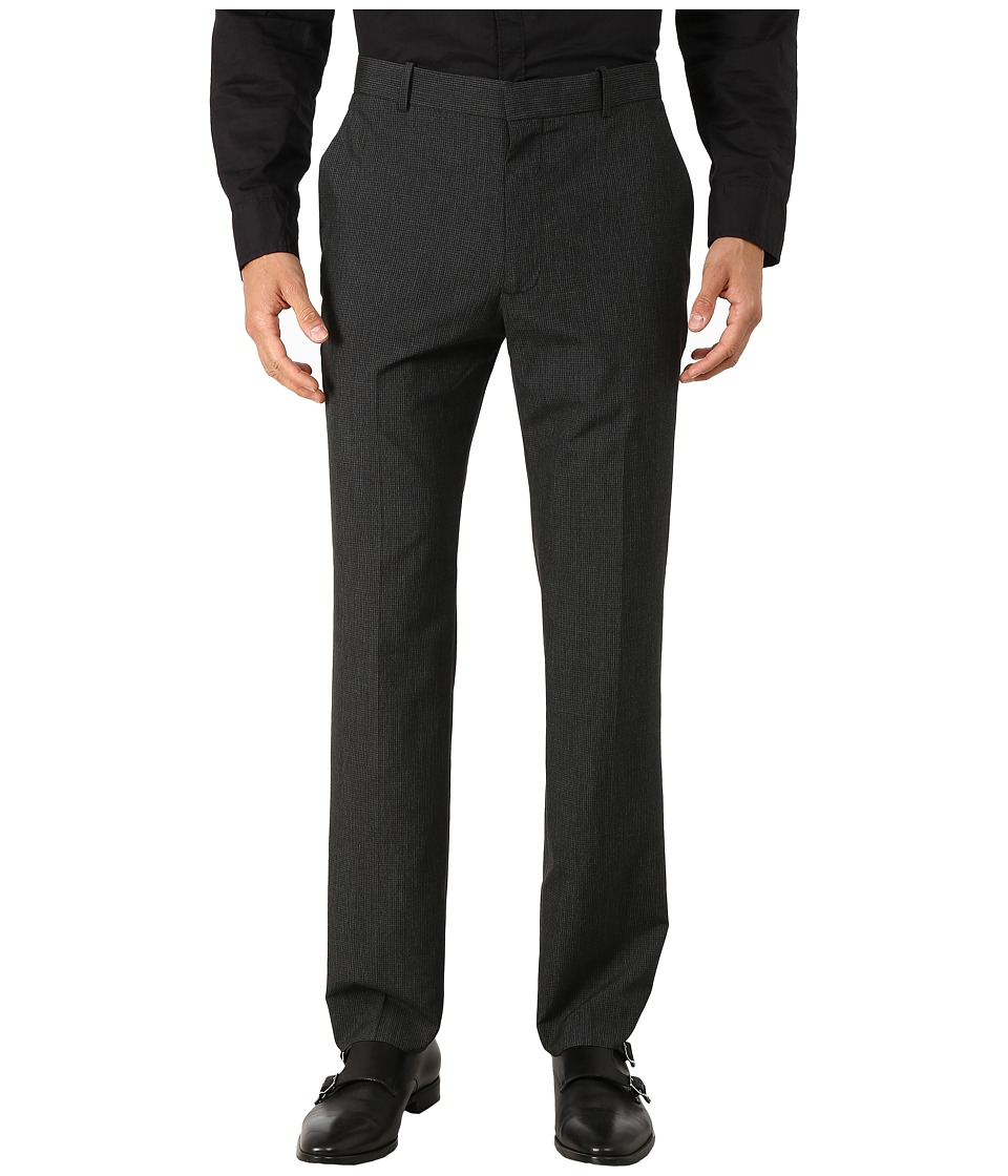 Perry Ellis - Slim Fit Mini Tonal Check Flat Front Pants (Charcoal) Men's Dress Pants