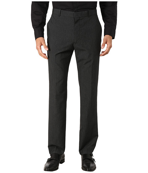 Perry Ellis - Slim Fit Mini Tonal Check Flat Front Pants (Charcoal) Men