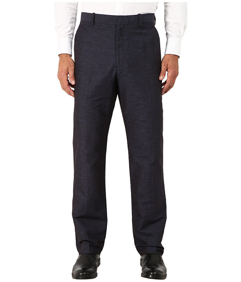 Perry Ellis - End on End Flat Front Dress Pants (Navy) Men's Dress Pants