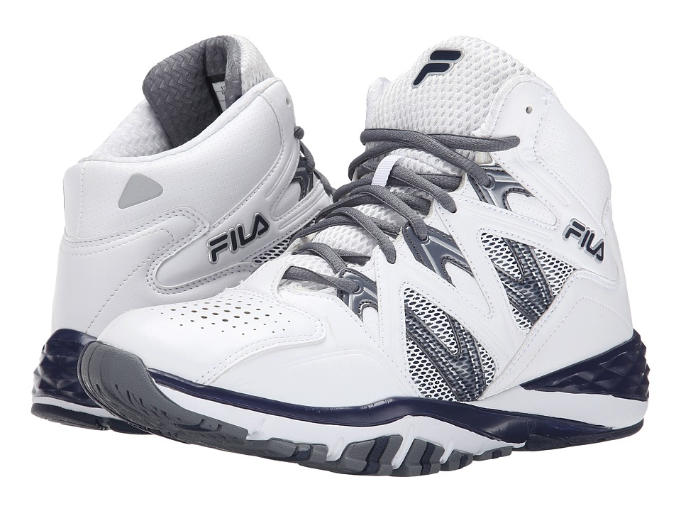Fila - Posterizer (White/Fila Navy/Castlerock) Men's Basketball Shoes