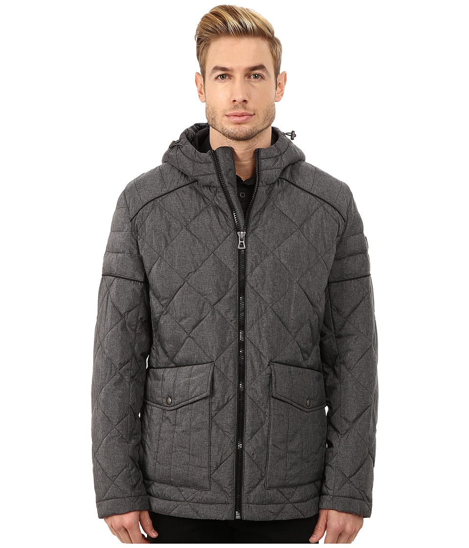 BOSS Orange - Oktavio Quilted Nylon Jacket with Hood (Charcoal) Men's Coat