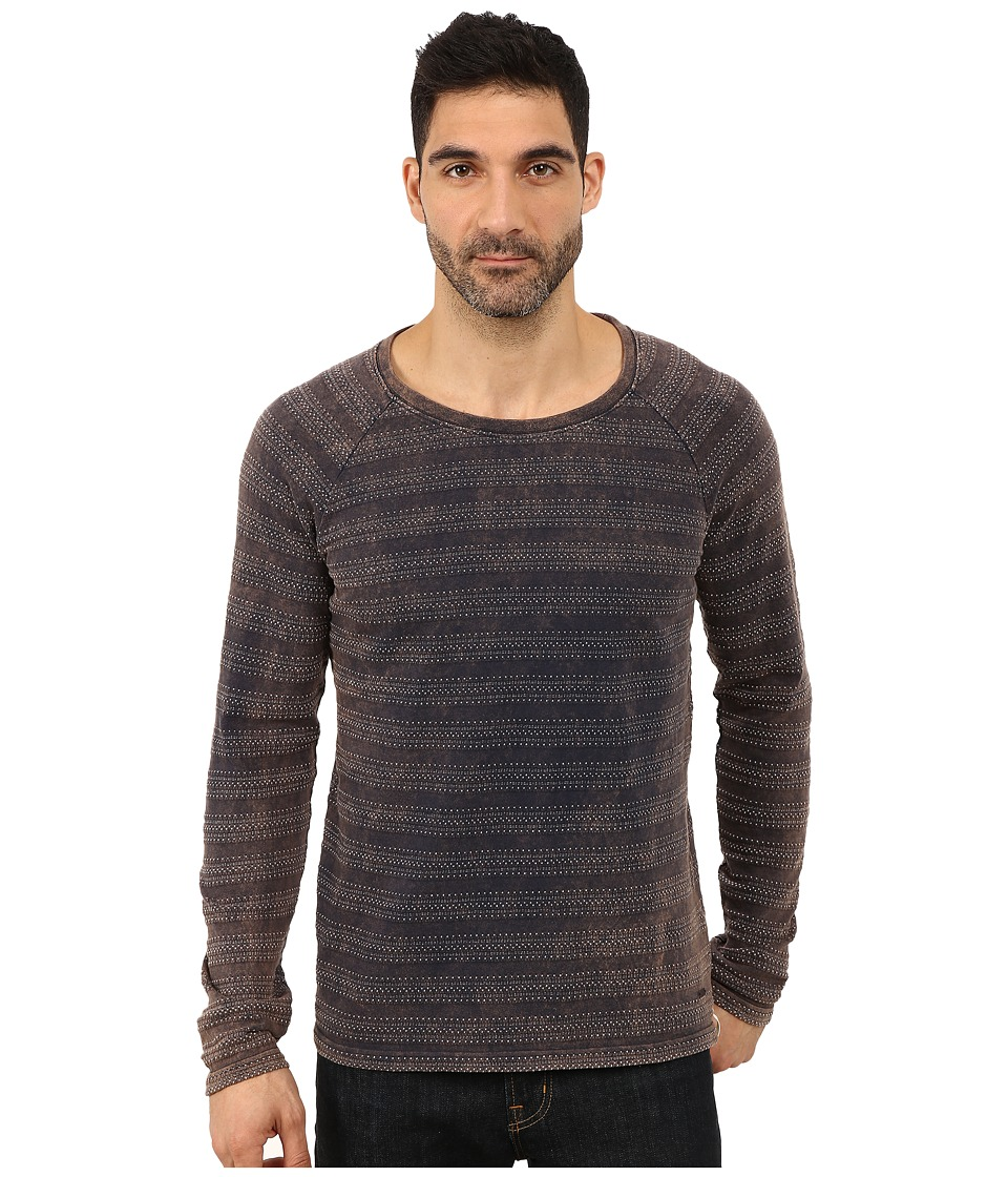 BOSS Orange - Tantillo-H Engineered Jacquard Striped Long Sleeve Crew Knit (Navy) Men's Long Sleeve Pullover