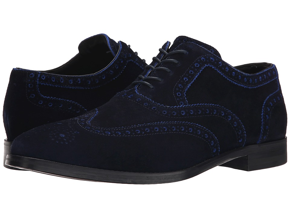 Cole Haan - Cambridge Wing Oxford (Navy Piped) Men's Lace Up Wing Tip Shoes