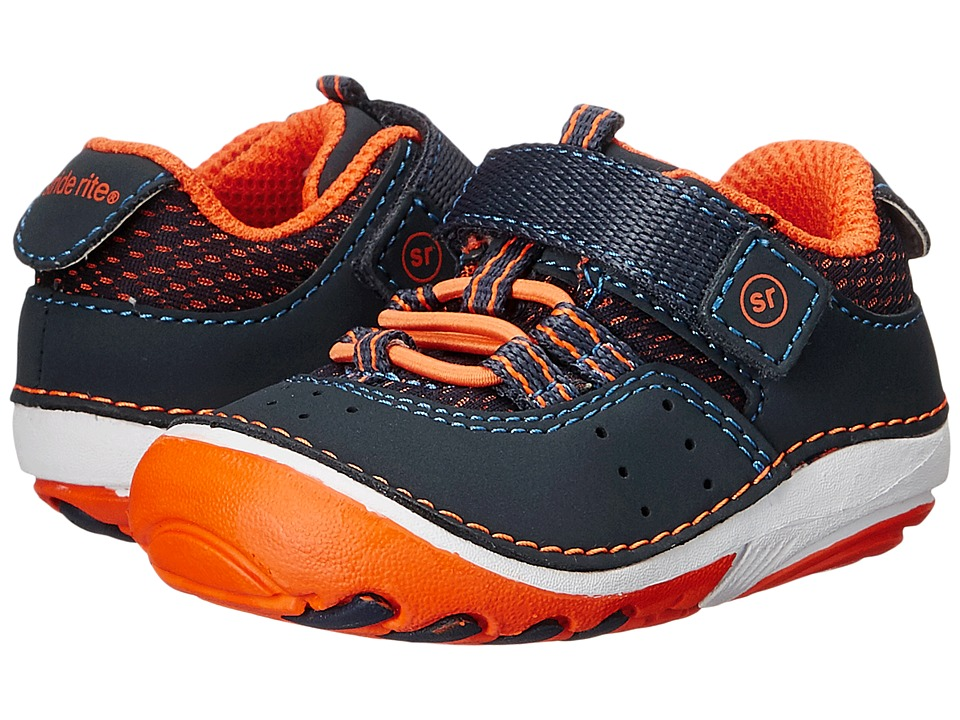 Stride Rite - SM Amos (Infant/Toddler) (Navy/Orange) Boy's Shoes