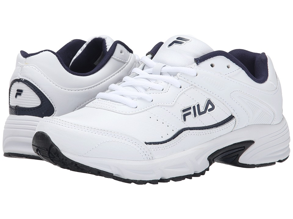 Fila - Memory Sportland (White/Fila Navy/Metallic Silver) Men's Shoes