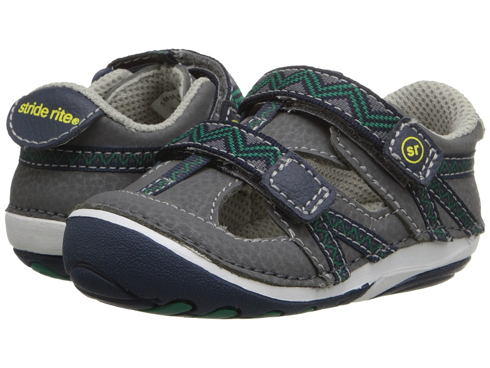 Stride Rite - SM Bradshaw (Infant/Toddler) (Grey/Navy) Boys Shoes