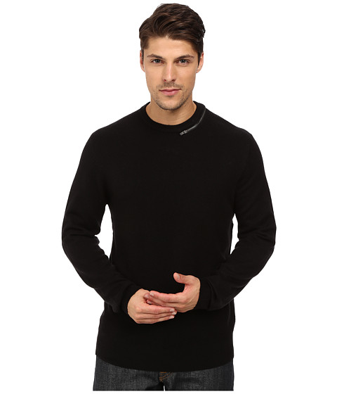 French Connection - Svhari Zip Knits Sweater (Black) Men
