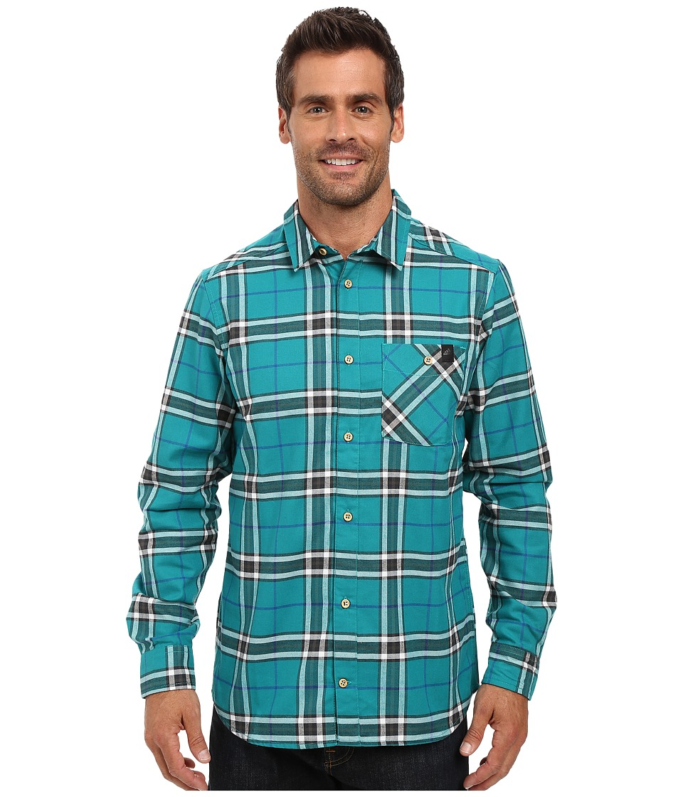 Image of adidas Outdoor - All Outdoor Checker Moss Long Sleeve Shirt (Green) Men's Long Sleeve Button Up