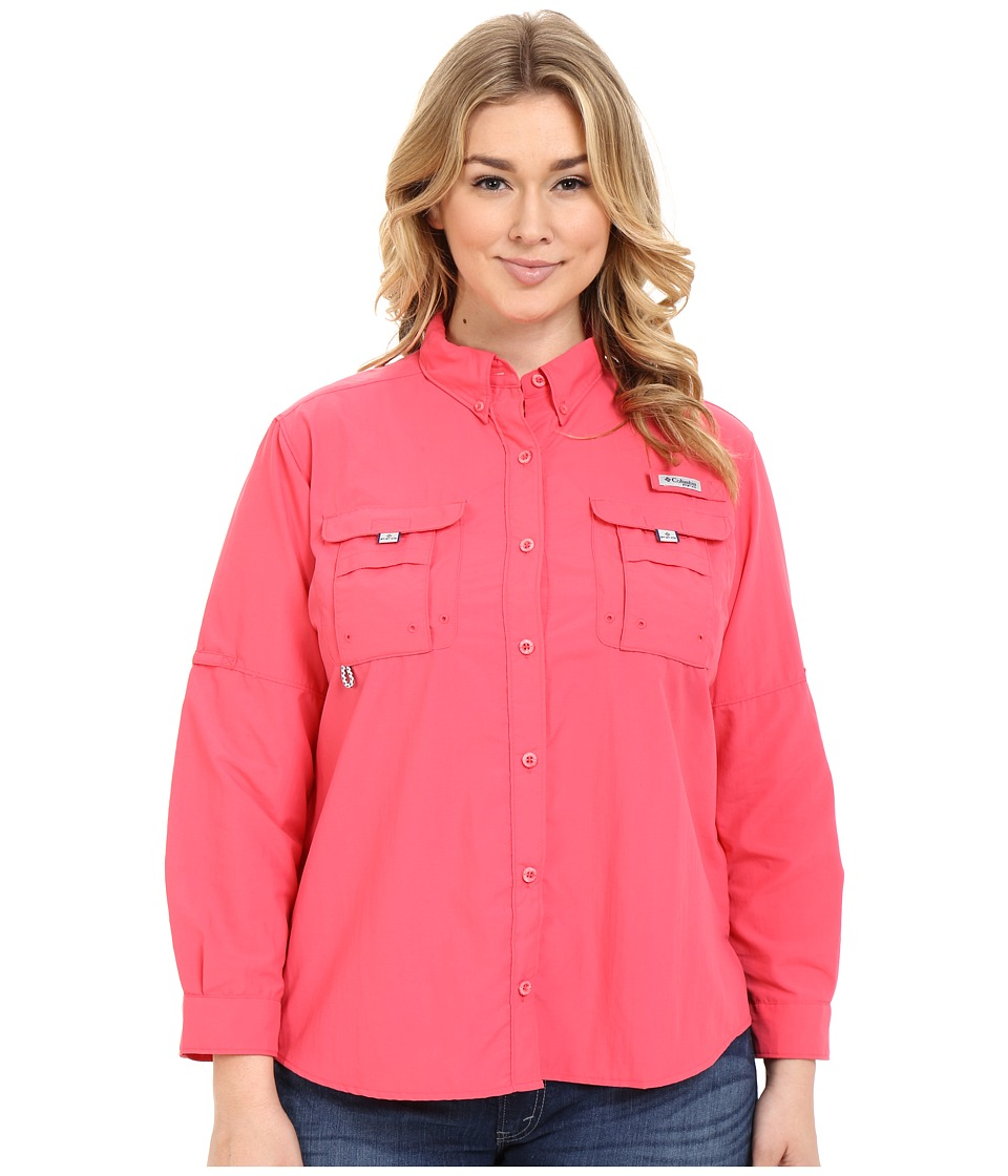 Columbia - Plus Size Bahama Long Sleeve (Bright Geranium) Women's Long Sleeve Button Up