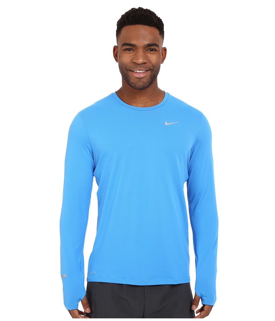 Nike Dri-FITtm Contour L/S Running Shirt (Light Photo Blue/Reflective Silver) Men