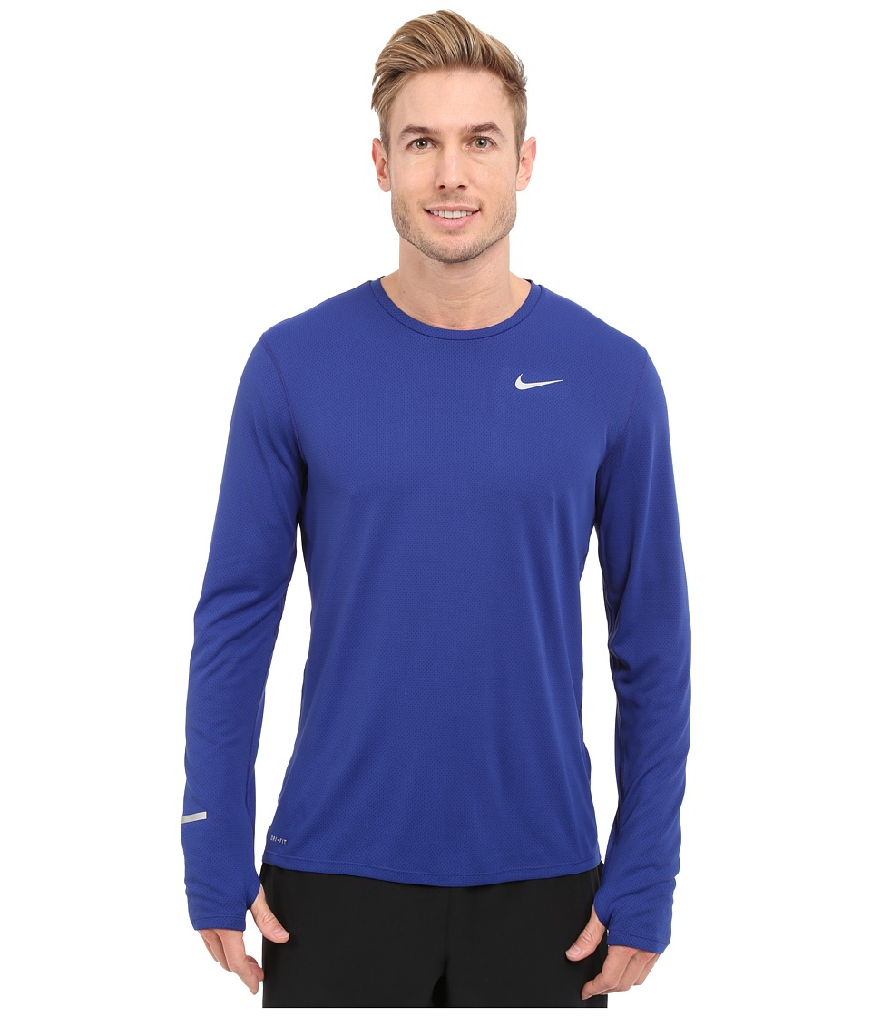 Nike Dri-FITtm Contour L/S Running Shirt (Deep Royal Blue/Reflective Silver) Men