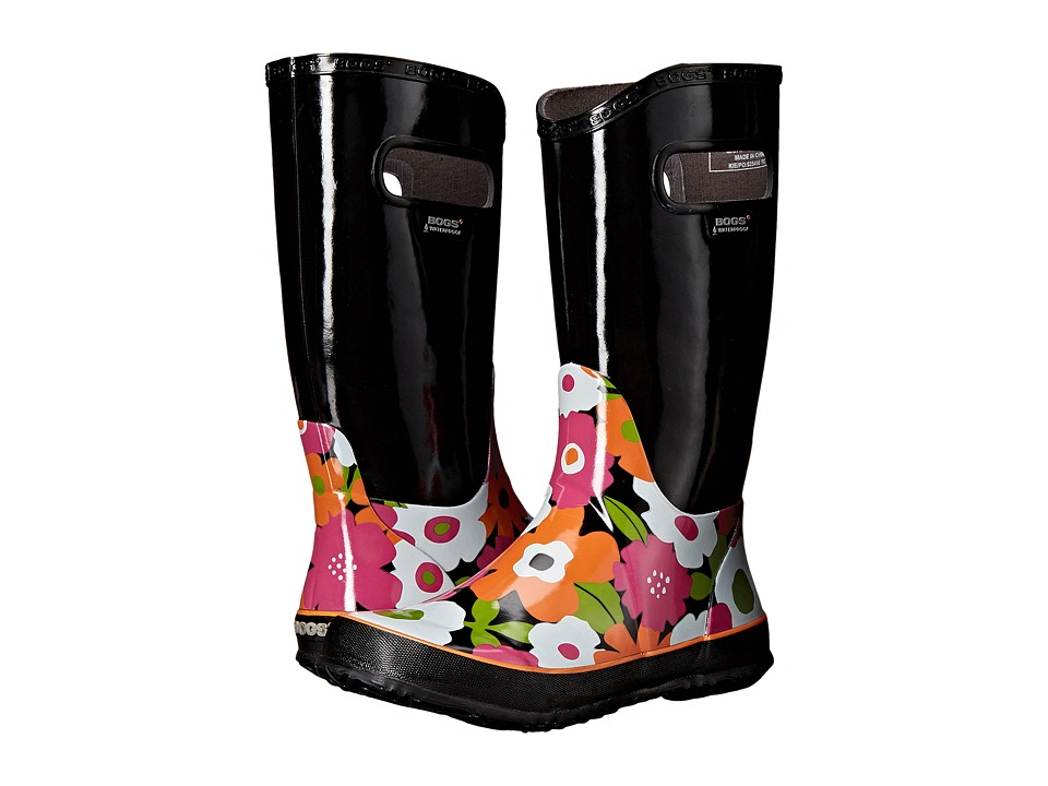 Bogs Kids - Rain Boot Spring Flowers (Toddler/Little Kid/Big Kid) (Black Multi) Girls Shoes