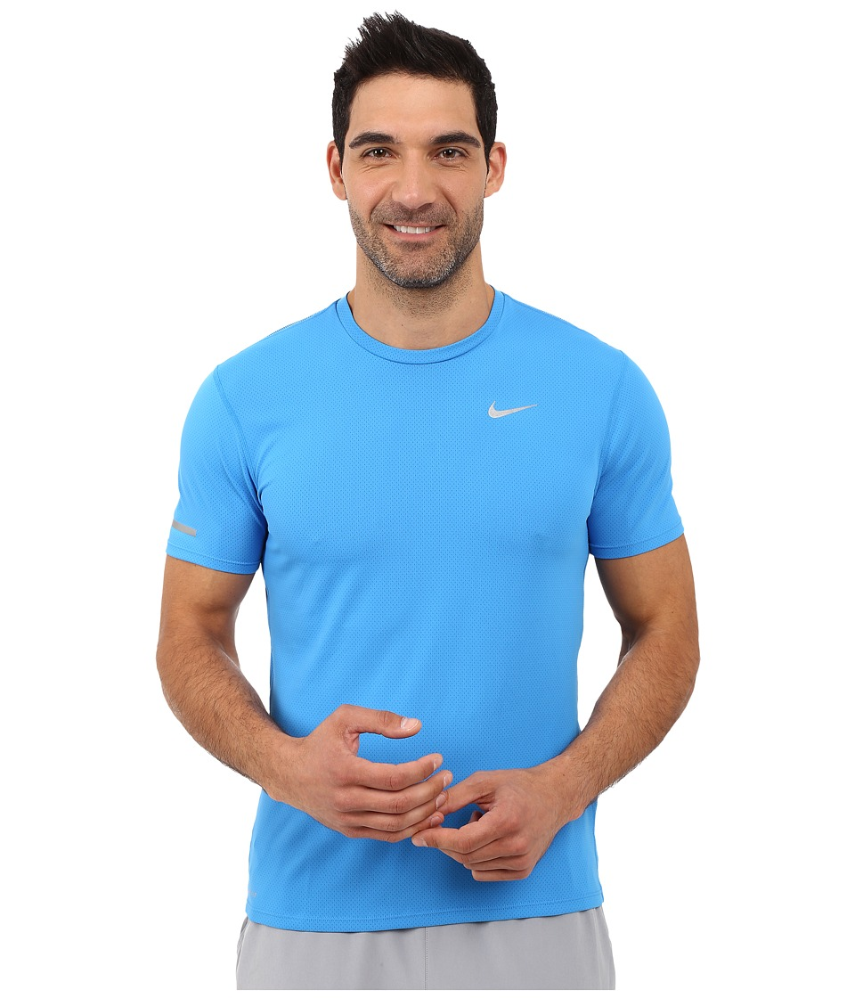 Nike Dri-FITtm Contour S/S Running Shirt (Light Photo Blue/Reflective Silver) Men