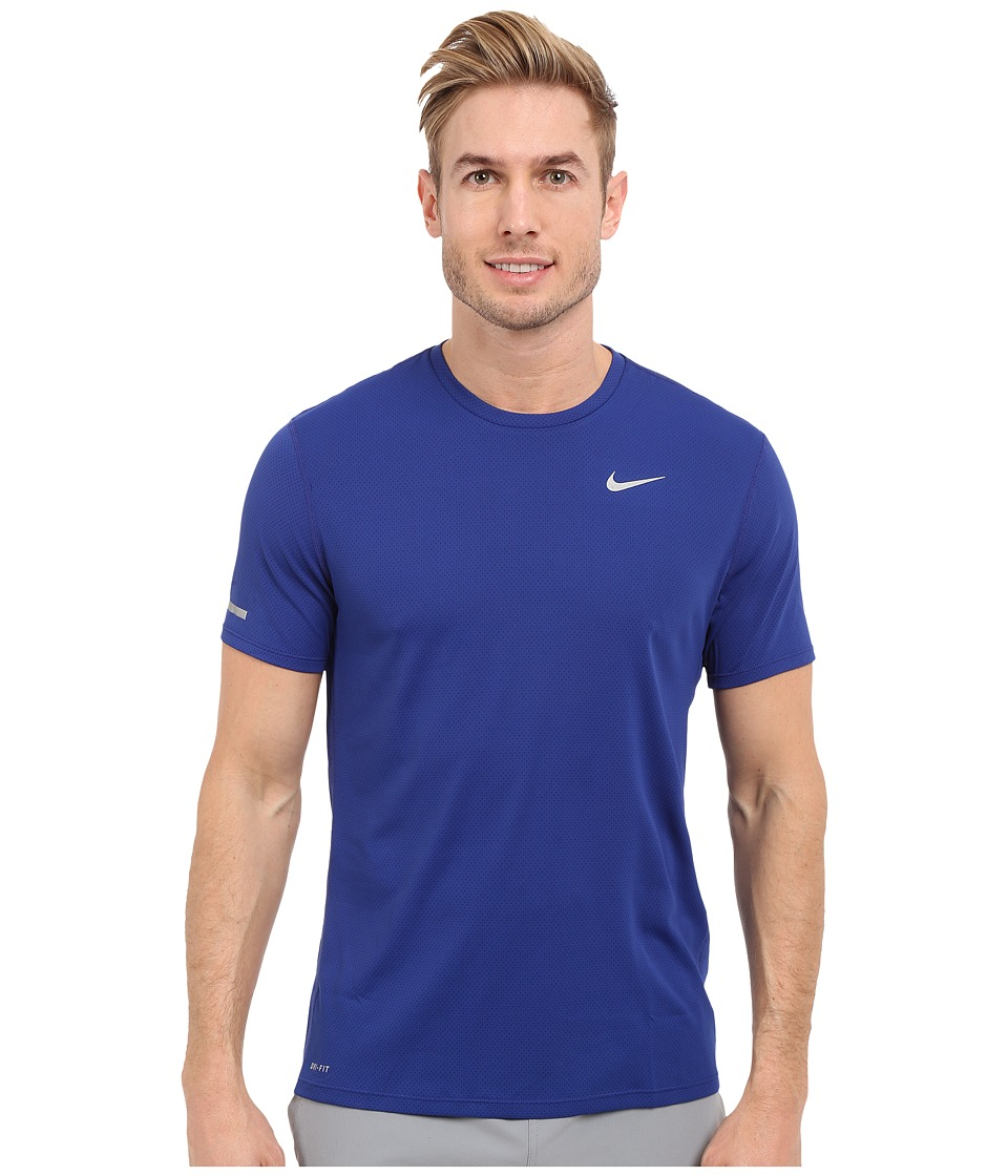 Nike Dri-FITtm Contour S/S Running Shirt (Deep Royal Blue/Reflective Silver) Men