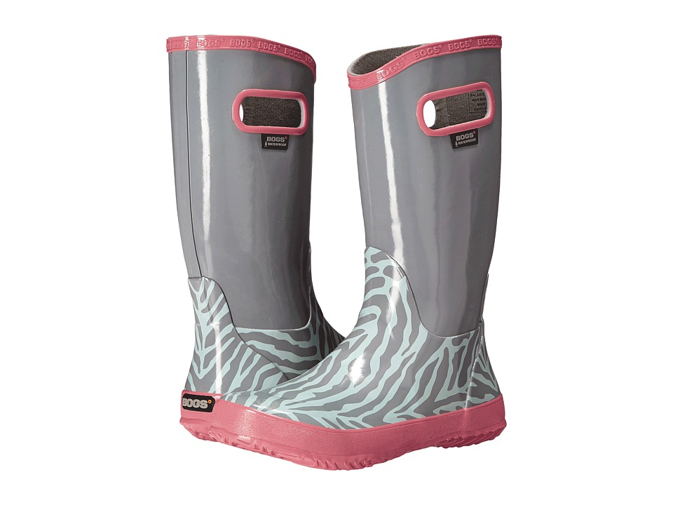 Bogs Kids - Rain Boot Zebra (Toddler/Little Kid/Big Kid) (Light Grey Multi) Girls Shoes