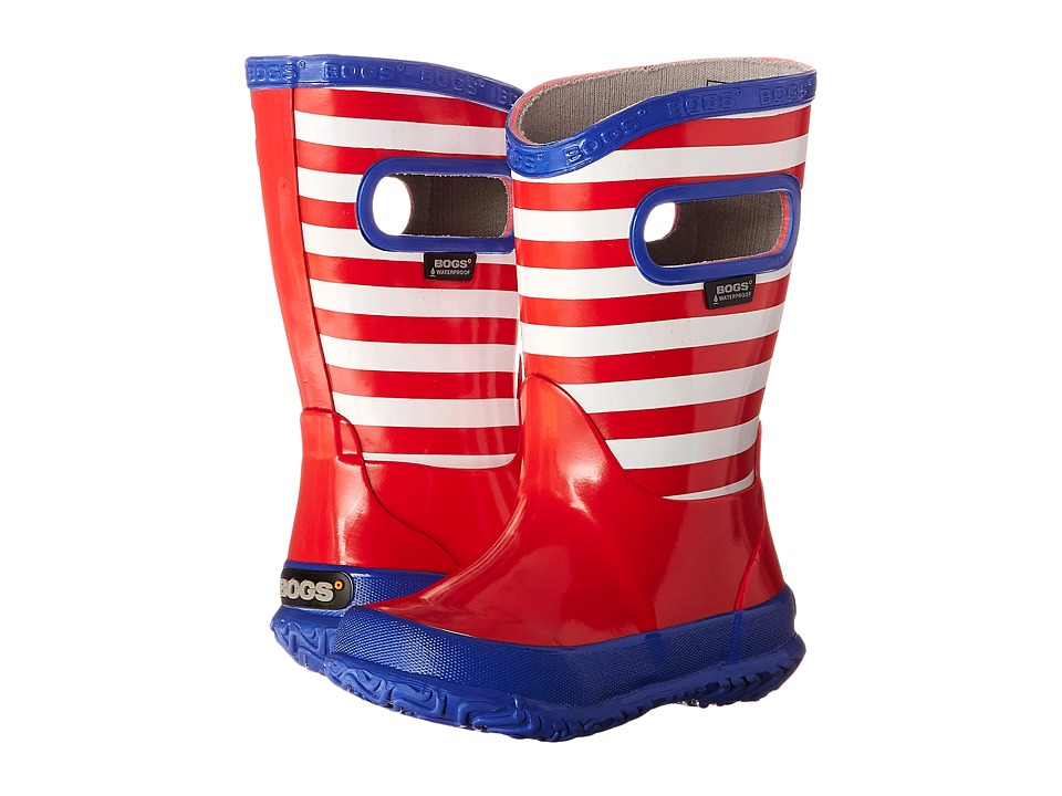 Bogs Kids - Rain Boot Stripes (Toddler/Little Kid/Big Kid) (Red Multi) Kids Shoes