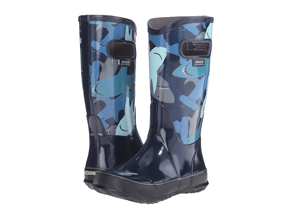 Bogs Kids - Rain Boot Sharks (Toddler/Little Kid/Big Kid) (Navy Multi) Boys Shoes