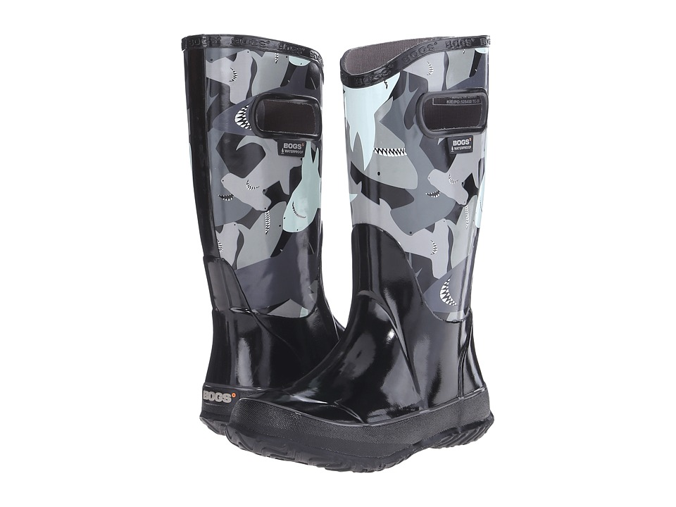 Bogs Kids - Rain Boot Sharks (Toddler/Little Kid/Big Kid) (Black Multi) Boys Shoes