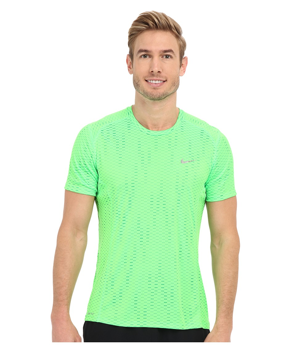 Nike - Dri-FIT Miler Fuse Running Shirt (Voltage Green/Reflective Silver) Men's Short Sleeve Pullover