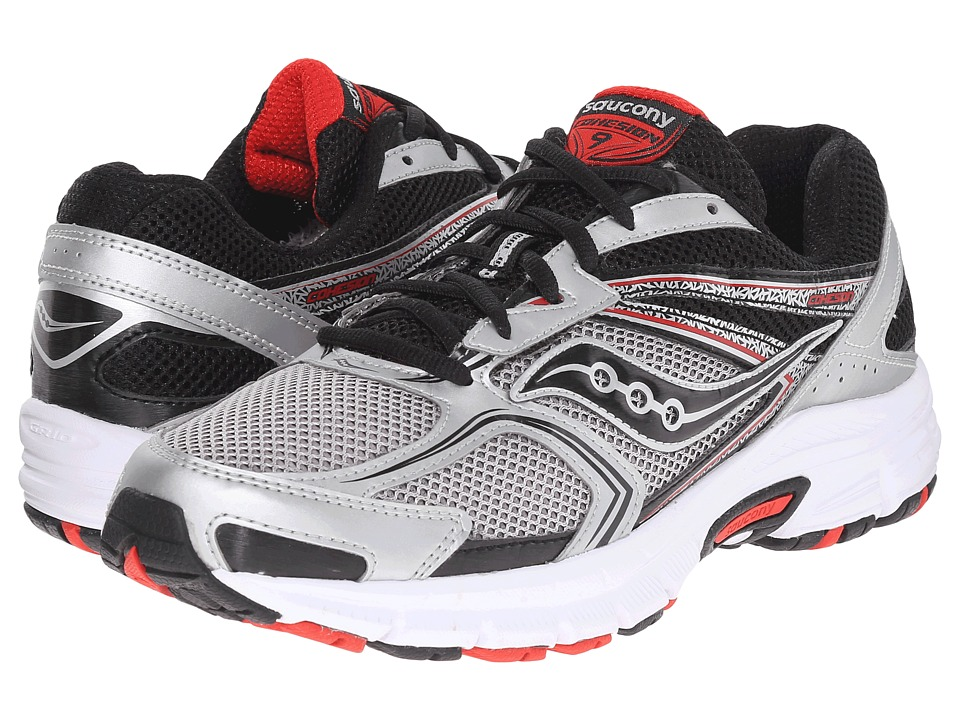 Men'S Saucony Red Silver Black Cohesion 9