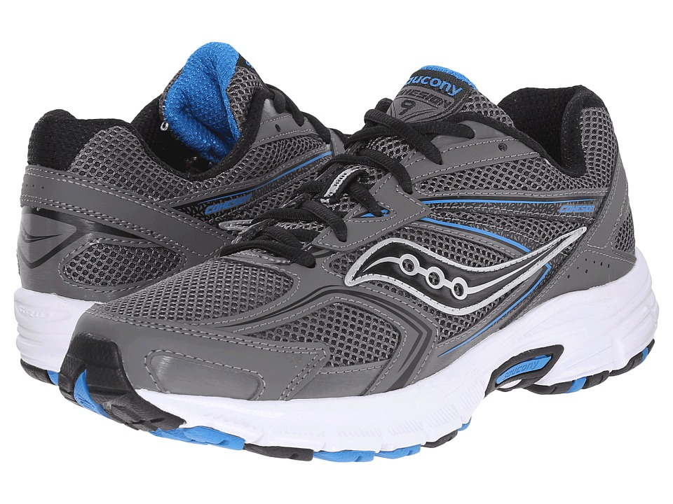 Saucony - Cohesion 9 (Grey/Black/Royal) Men's Running Shoes