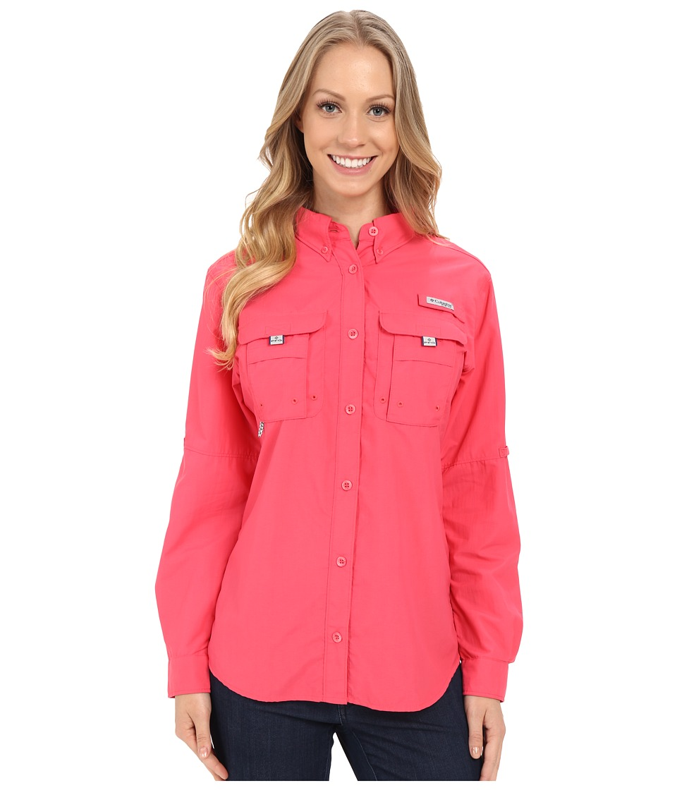 Columbia - Bahama L/S Shirt (Bright Geranium) Women's Long Sleeve Button Up