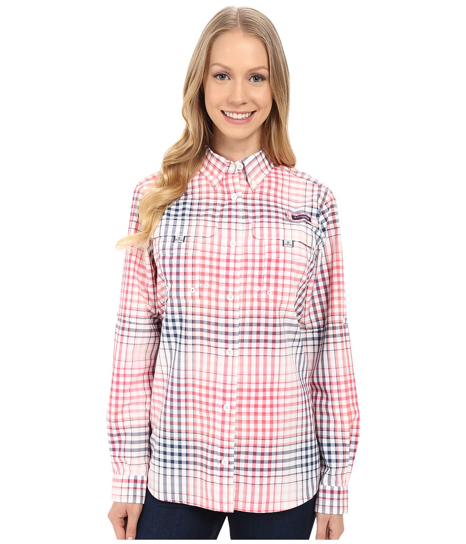 Columbia - Super Bahama L/S Shirt (Bright Geranium Multi Plaid) Women's Long Sleeve Button Up