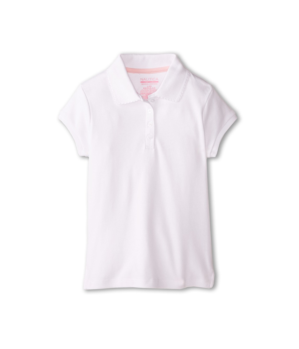 Nautica Kids - Short Sleeve Pique Polo Shirt (Little Kids) (White) Girl's Short Sleeve Knit