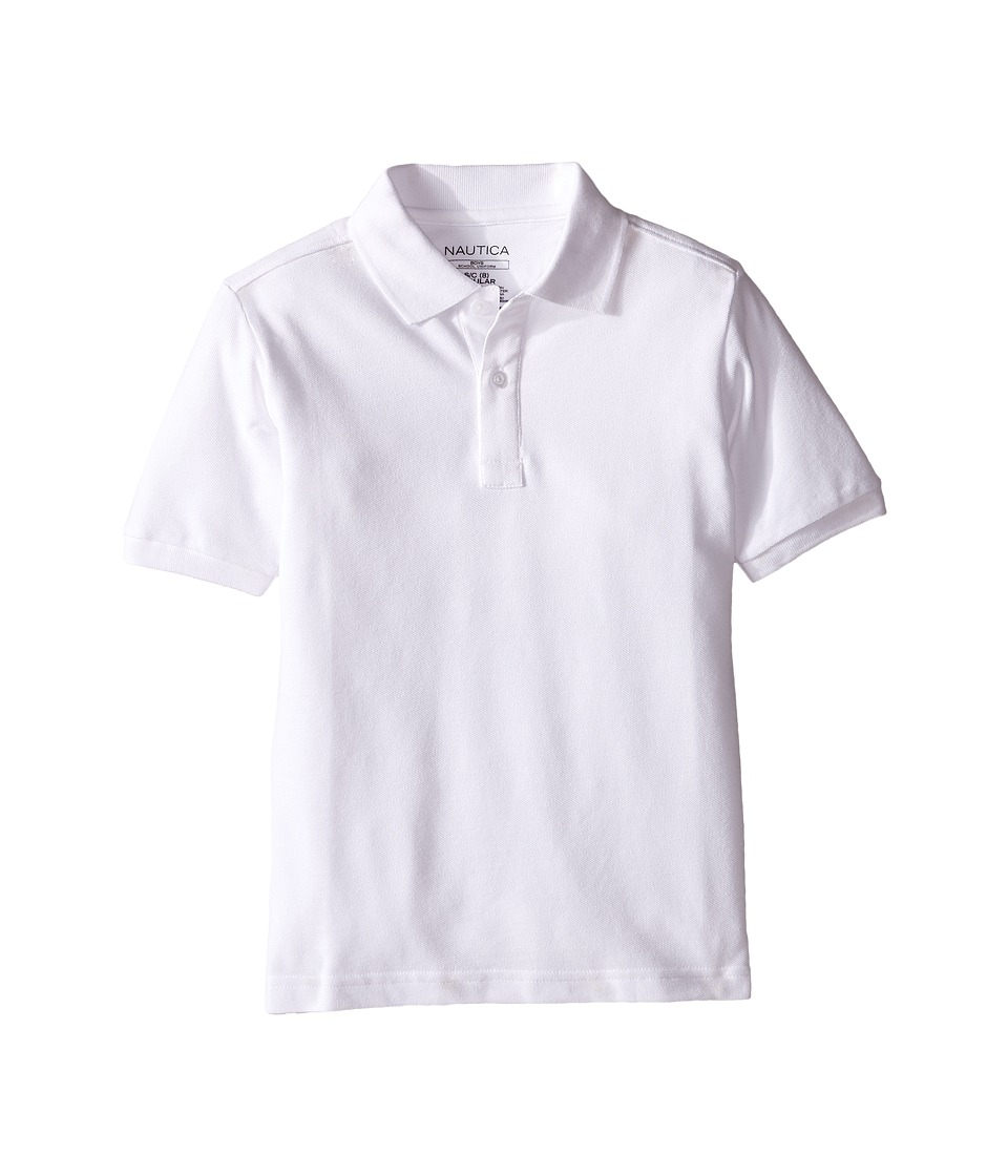 Nautica Kids - Short Sleeve Pique Polo (Big Kids) (White) Boy's Short Sleeve Pullover