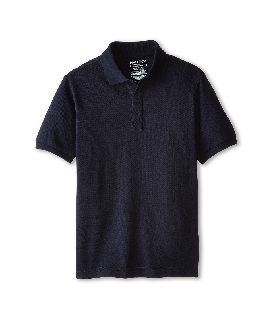 Nautica Kids - Short Sleeve Pique Polo (Big Kids) (Navy) Boy's Short Sleeve Pullover