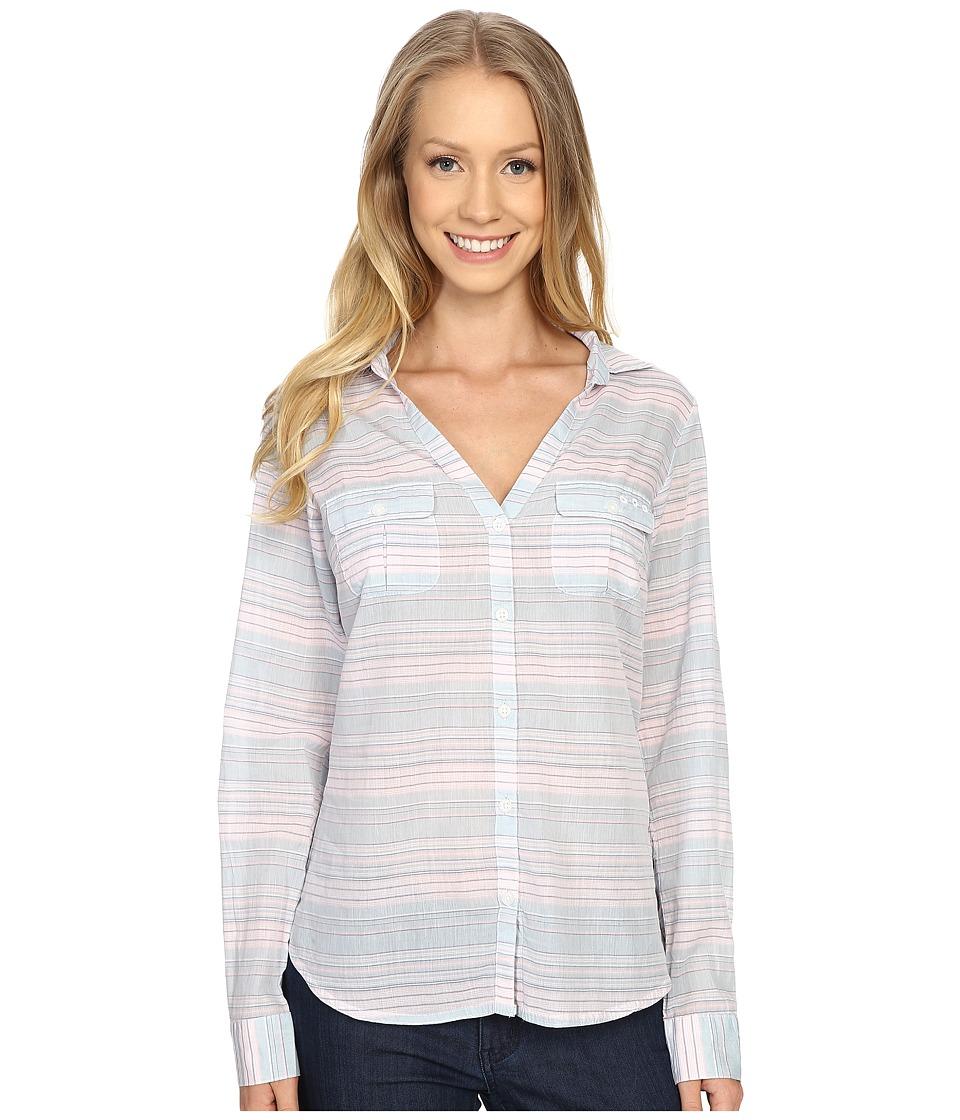 Columbia - Sun Drifter L/S Shirt (Stone Blue Stripe) Women's Long Sleeve Button Up