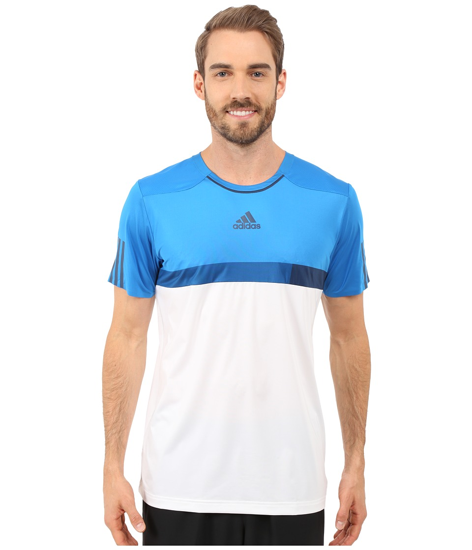 adidas - BARRICADE Tee (White/Mineral Blue/Shock Blue) Men's T Shirt