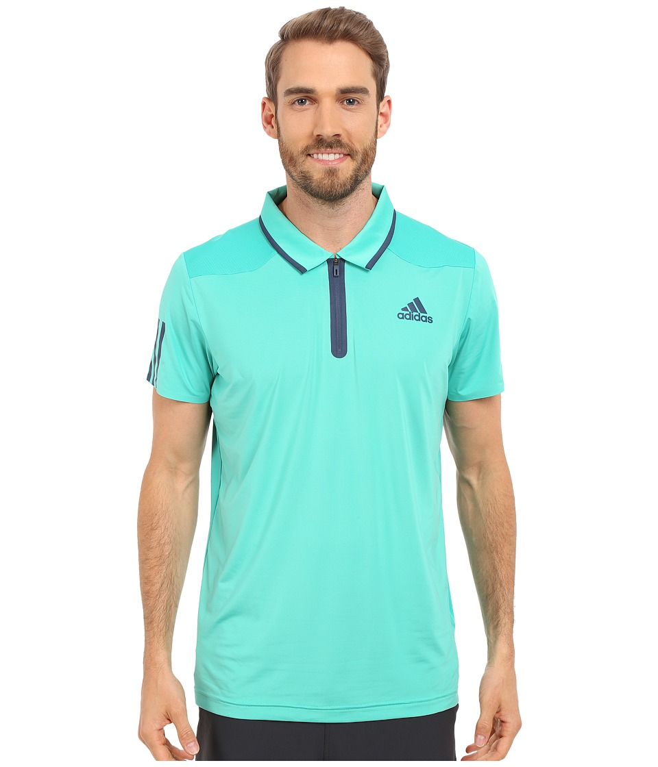 adidas - Barricade Polo Shirt (Shock Mint/Mineral Blue) Men's Short Sleeve Knit