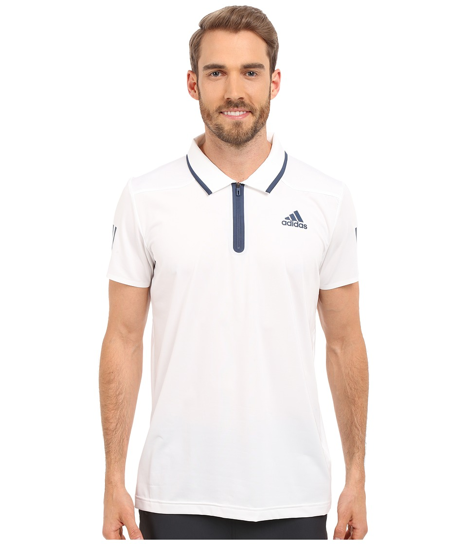 adidas - Barricade Polo Shirt (White/Mineral Blue) Men's Short Sleeve Knit