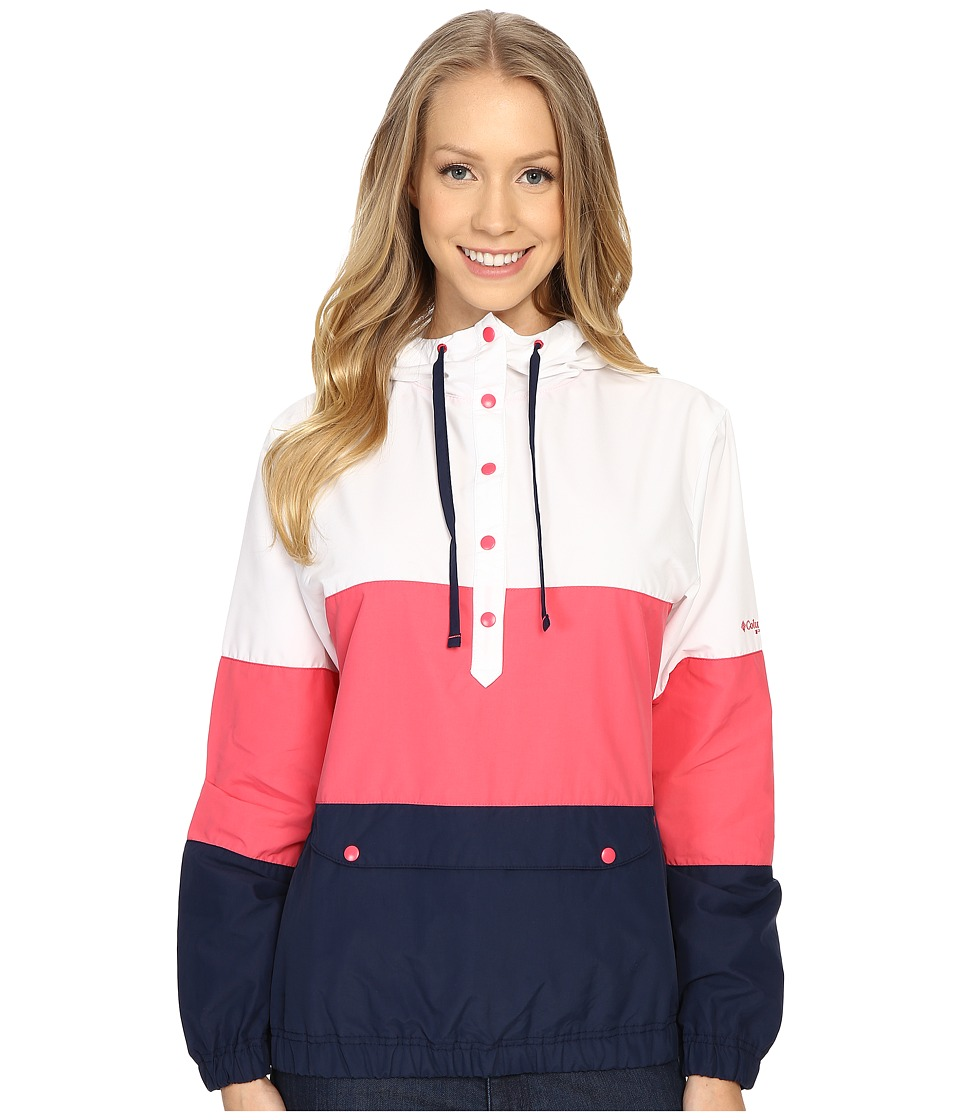 Columbia - Harborside Windbreaker (Bright Geranium/White/Collegiate Navy) Women's Long Sleeve Pullover