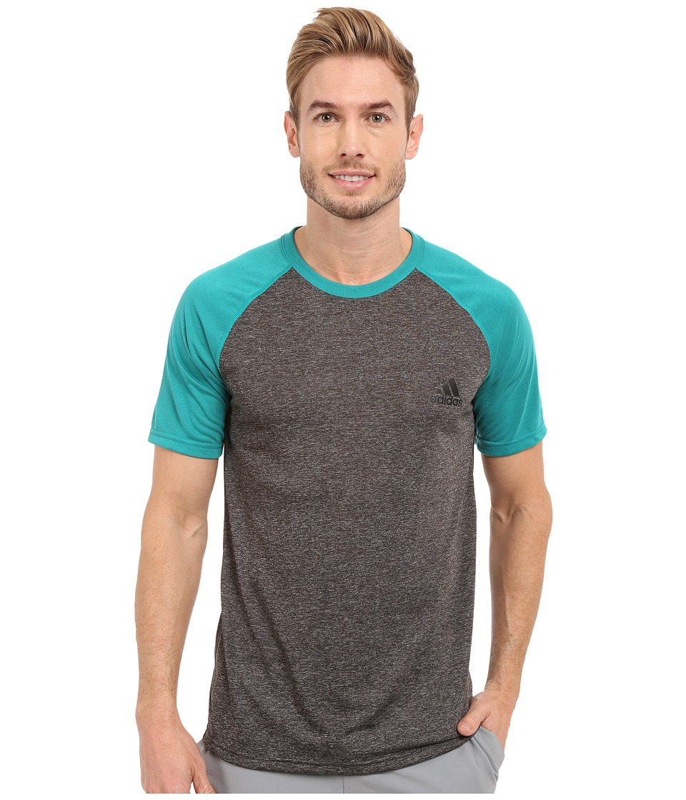 adidas - Ultimate S/S Crew Tee (Dark Grey Heather/EQT Green/Black) Men's T Shirt