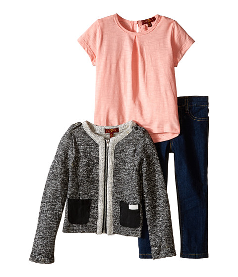 7 For All Mankind Kids - The Skinny Stretch Jeans, Slub T-Shirt and French Terry Jacket (Toddler) (Pink) Girl's Active Sets