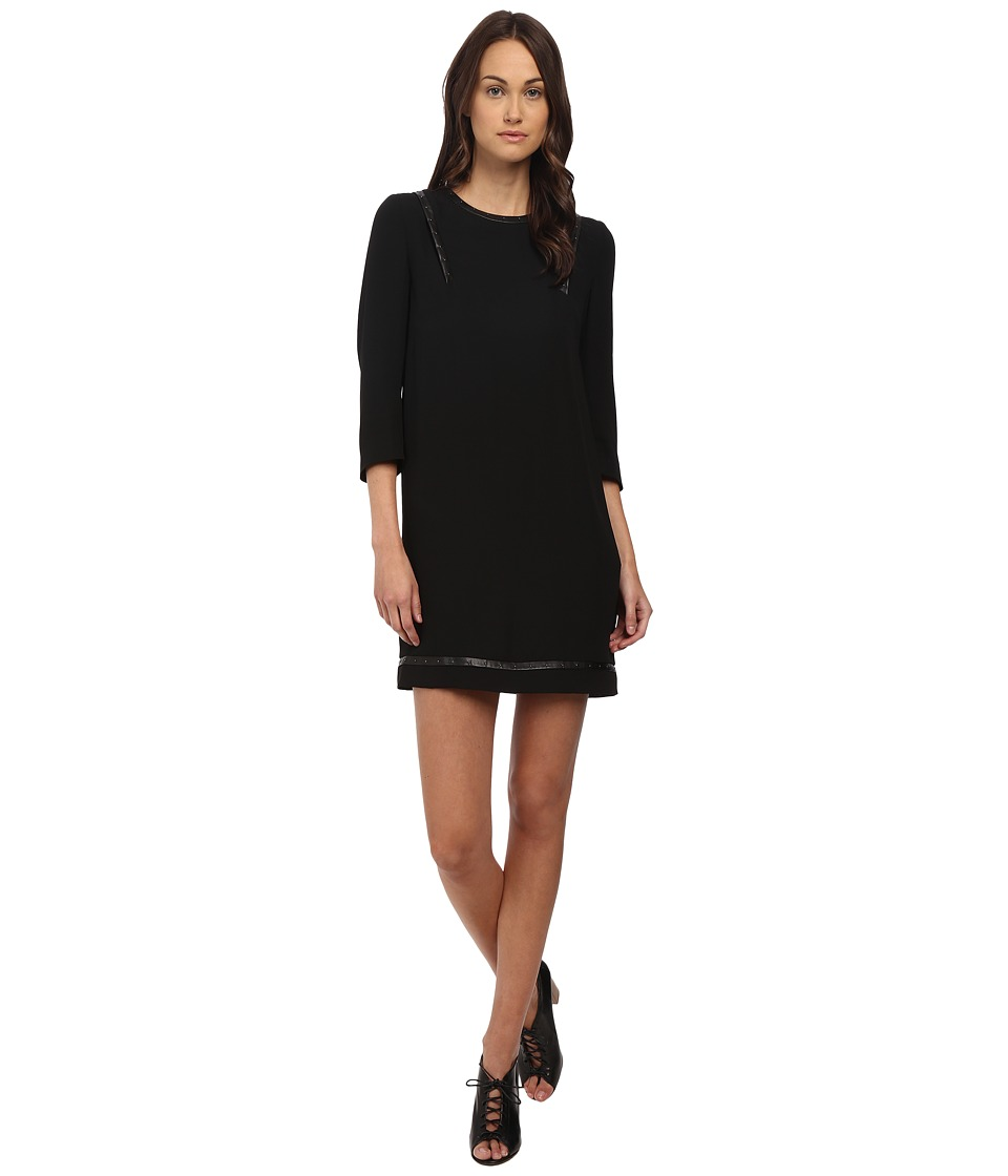 The Kooples - Polycrepe Dress with Leather Insert and Studs (Black) Women's Dress