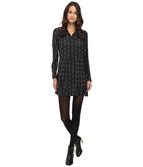 The Kooples - Handcuff Print Silk Dress (Black) Women