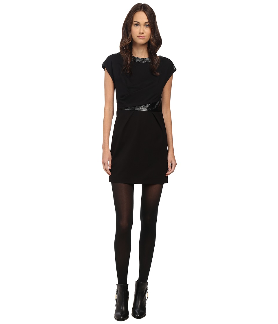 The Kooples - Sleeveless Dress with Cracked Vinyl Details (Black) Women