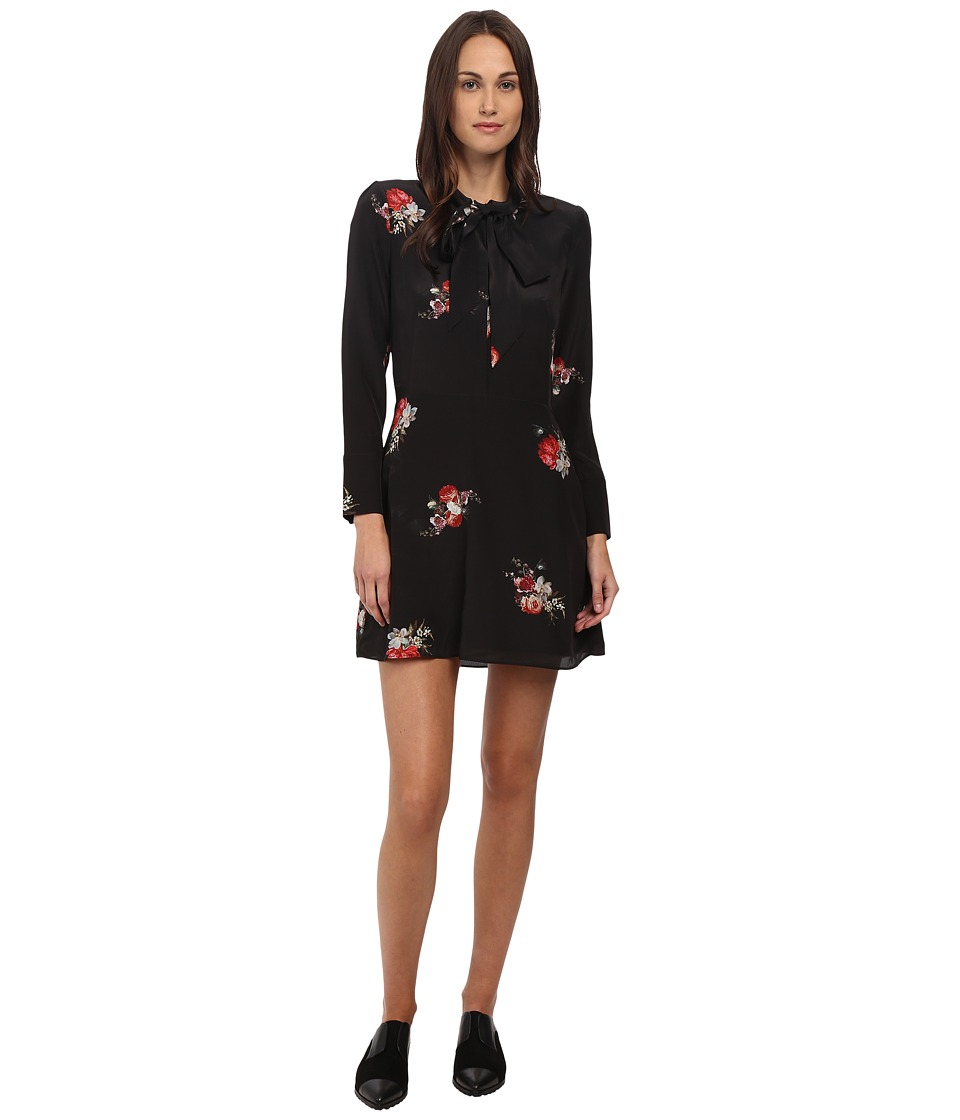 The Kooples - Flower Print Dress with Lace Collar (Black) Women