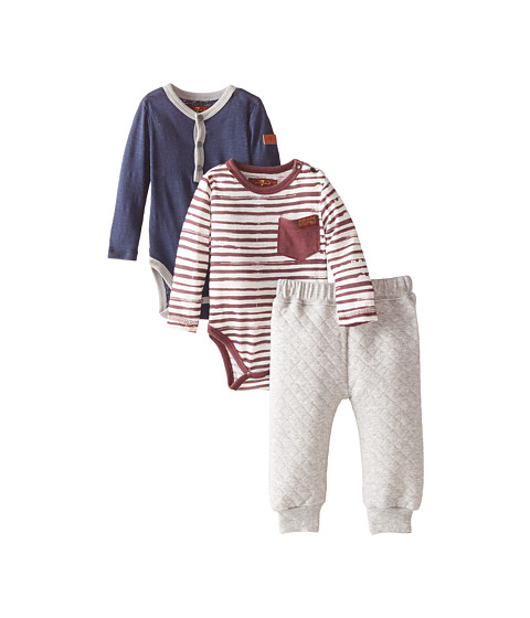 7 For All Mankind Kids - Quilted Jersey Jogger Pants, Solid Slub Jersey Henley Bodysuit and Striped Pocket Bodysuit (Infant) (Red Stripe/Navy) Boy