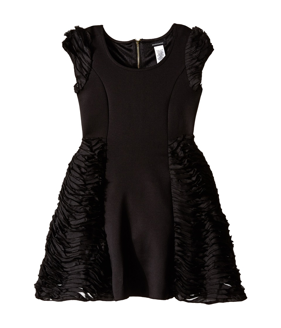 Marciano Kids - Liz Ponte Dress with Twist Chiffon (Big Kids) (Black) Girl