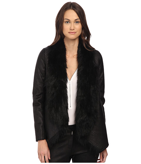 The Kooples - Jacket in Fake Leather and Faux Fur (Black) Women's Coat